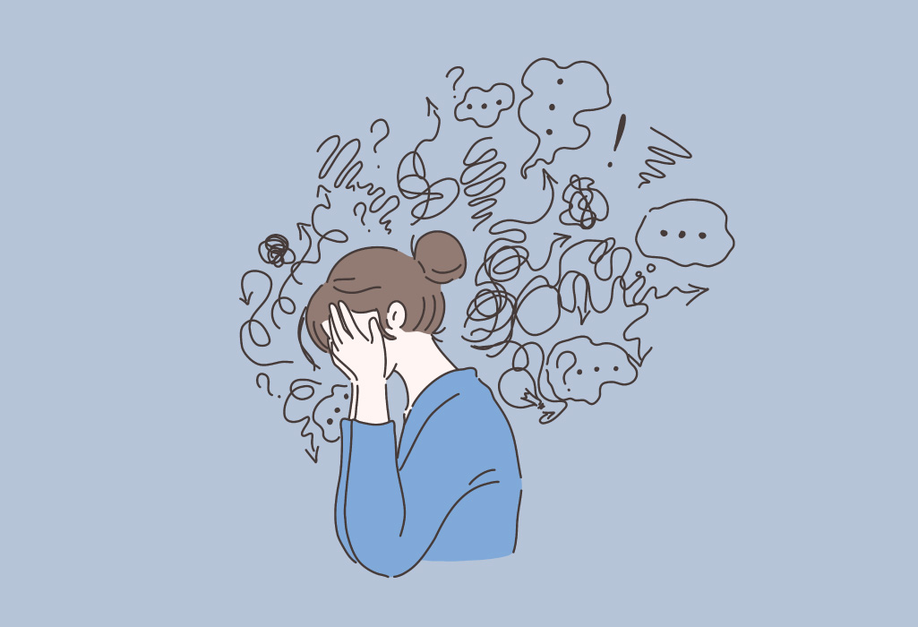 Graphic of a woman covering her face and surrounded by squiggles because of dental anxiety she wants to overcome